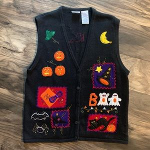 vintage womens large Ugly Halloween Sweater Vest